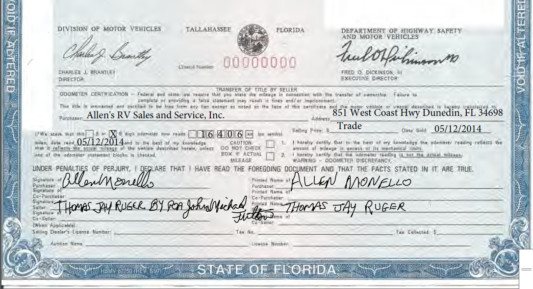 Florida department of motor vehicles title for Third party motor vehicle division