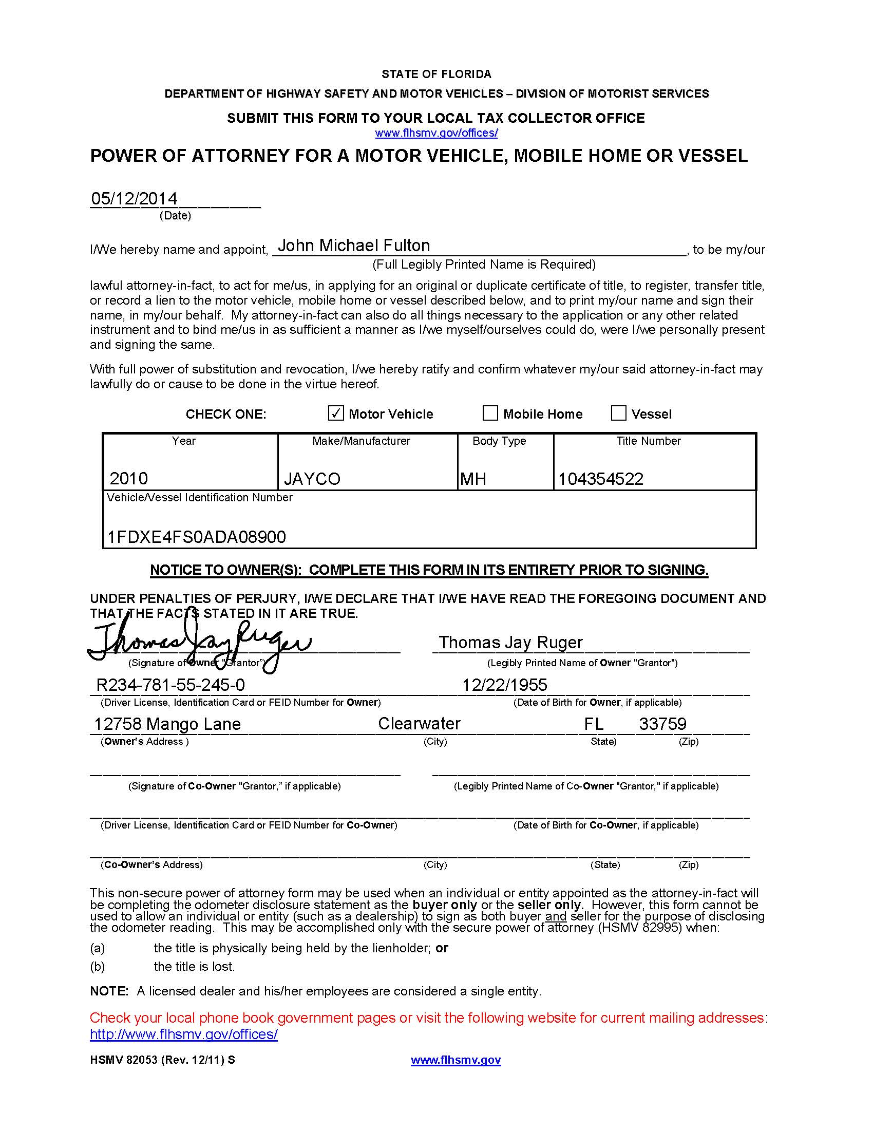 Powers of Attorney Which Ones to Use and How Florida RV Trade – Sample Durable Power of Attorney Form