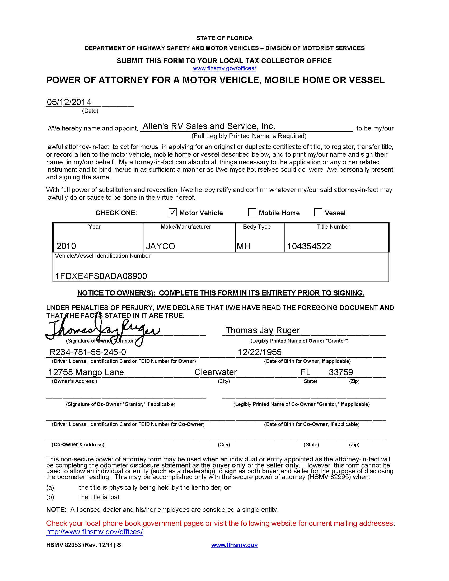 Powers of attorney which ones to use and how florida rv trade 82053 completed for dealer rv sample click image to enlarge falaconquin